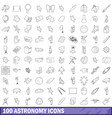100 astronomy icons set outline style vector image