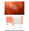 Calendar for 2016 Year July Design Clean Template vector image