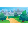 Fir Forest Background With Road vector image