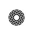 Concentric dashed circles sign vector image