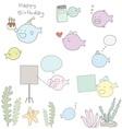 cute seaweed and fish cartoon character vector image