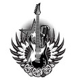 guitar microphone wings roses on the poster for vector image