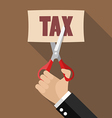 Hand cutting tax vector image