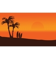 Surfing board silhouette in beach vector image
