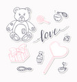 valentine day black and red stickers collection vector image