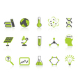 simple science icons setgreen series vector image vector image