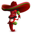 red hot chili peppers in mexican hat sombrero vector image
