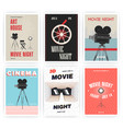 movie night poster set cinema events different vector image