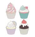 Cupcakes design set vector image
