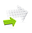 Arrow icon made of orange cubes vector image vector image
