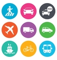 Transport icons Car bike bus and taxi signs vector image