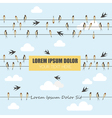 Swallows on wires graphic template set With place vector image