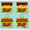 Opened and closed antique treasure chest vector image