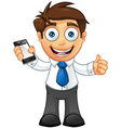 Business Man Thumbs Up With Mobile vector image