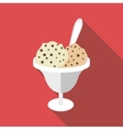 Chocolate ice cream icon flat style vector image