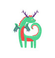 cute horned baby dragon character mythical animal vector image
