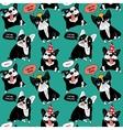Dog French bulldog happy animals color seamless vector image