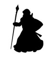 grandfather frost silhouette new year vector image