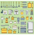 Line flat kitchenware icons set Cutlery vector image
