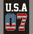 numbers 07 athletic sport usa vector image