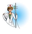 Nurse in a white coat with a dropper vector image