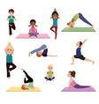 Yoga kids Asanas poses set vector image