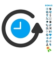 Restore Clock Flat Icon with Bonus vector image