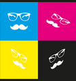 mustache and glasses sign  white icon with vector image