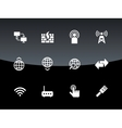 Networking icons on black background vector image
