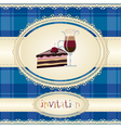 Vintage card-invitation-with coffee and cake vector image