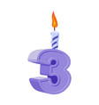 3 years birthday number with festive candle for vector image