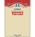 American cowboy poster for text background with vector image vector image