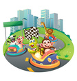 Animals and racing cars vector image