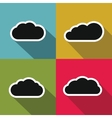Cloud flat icons with long shadow on color vector image