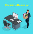 new job concept people isometric 3d office vector image