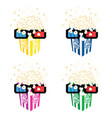 popcorn with 3d movie glasses set vector image