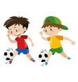 two boys playing football vector image