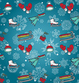 Winter seamless texture with skates sleds mittens vector image