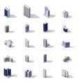 isometric city buildings icon set vector image vector image