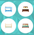 flat set of hostel bunk bed cot and other vector image