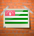 Flag of Abkhazia Flat design scotch taped to a red vector image