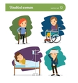 Disabled woman characters vector image