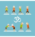 Old people yoga icons vector image