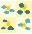 Clouds flat icons on yellow background with sun vector image