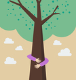 Kid hands hug tree vector image