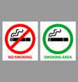 no smoking and smoking area sign vector image