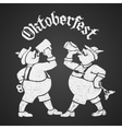Oktoberfest lettering with two men drinking beer vector image