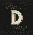retro style western letter design letter d vector image