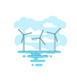 with wind turbine in the sea vector image