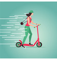 young girl riding a scooter cartoon vector image